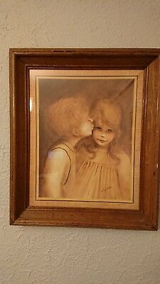 Margaret Keane 1960's: A Little Kiss Big Eyed Boy Girl Framed Home Interior