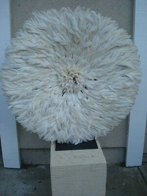 "28"" Off White-Tan / African Feather Headdress / Juju-Hat / ""Danced"""