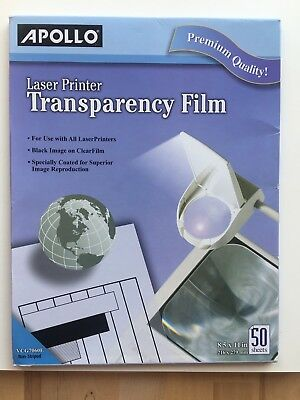 Transparency Film for Laser Printers, Letter, Clear, 50/Box