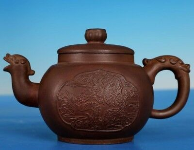 Antique China Yixing Zisha Teapot Carved Dragon Purple Sand Teapots Marks PT264