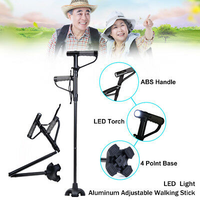Adjustable Walking Stick Cane Folding With Light LED Strap Handle Black Aluminum