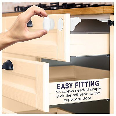 8 X Child Safety Cabinets Locks - Baby Safe Adhesive Magnetic Drawer Latch