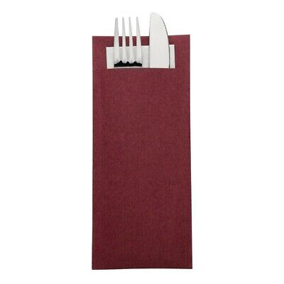 Europochette Kraft Burgundy Cutlery Pouch with Champagne Napkin (Pack of 600 ...