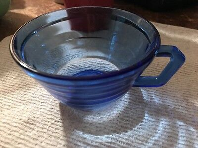 Vintage Cobalt Blue Depression Glass Coffee / Tea Cup And saucer Matching