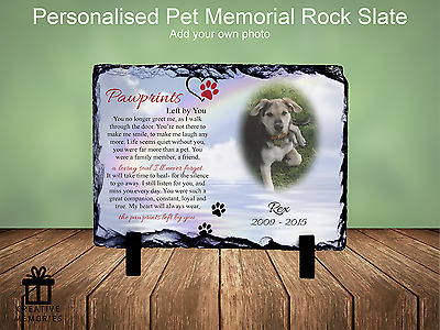 Pet Dog Photo Memorial Slate Plaque Personalised - FREE PROOFING Rainbow