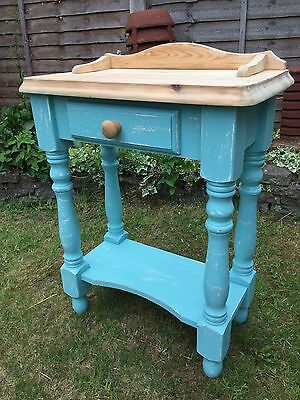 Shabby Chic Vintage Antique Pine Wash Stand With Drawer - Teal