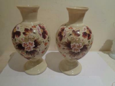 Antique Pair Victorian Painted Floral Opalescent Cream Color Glass Vases