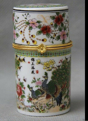 Chinese Porcelain peacock peafowl Bird Toothpick box