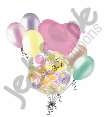 7 pc Baby Girl Bear & Things Shower Balloon Bouquet Party Decoration Infant Pink