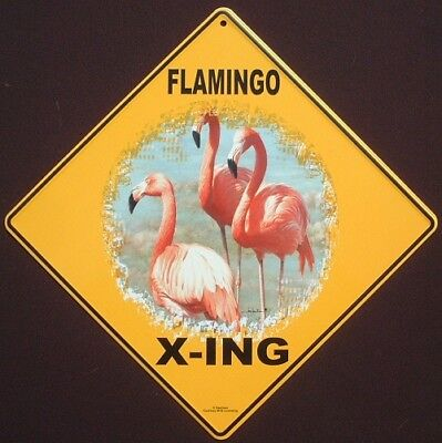 PINK FLAMINGO X-ING Sign aluminum art decor birds novelty  picture home signs