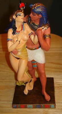 Veronese Egyptian Pharaoh & Queen Statue w/Box - Royal Embrace --  9 1/2""