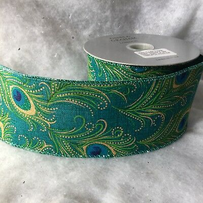 1m x Peacock Feather Green Wide Wired Edge Ribbon Christmas Cake Gisela Graham