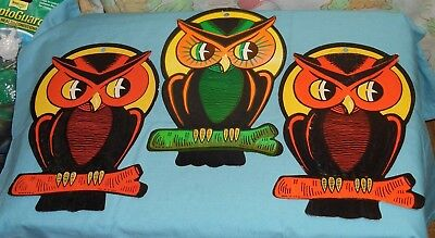 Vintage Halloween HE Luhrs Beistle DECORATIONS Cutouts Lot Of 3 Owl
