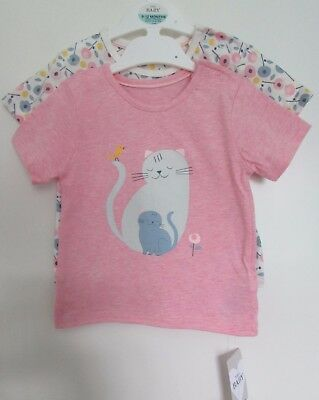 New 2 Pack Baby Girls Tops Pink Mix Marks & Spencer Cat & Floral 9-12 Months