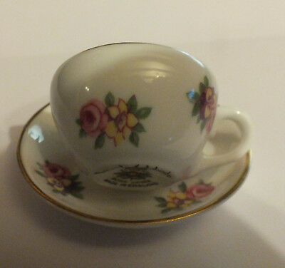 "ROYAL ADDERLEY Bone china miniature cup and saucer "" Floral "" design"