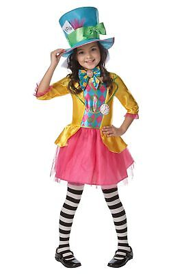 Girl's Disney Alice in Wonderland Mad Hatter Fancy Dress Party Costume Ages 7-8