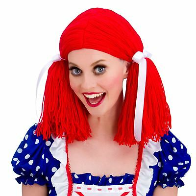 Womens Bright Red Knitted Rag Doll Wig Halloween Fancy Dress Party Accessory