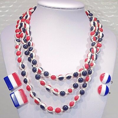 Vintage red white blue lot USA France striped lucite(?) necklace clip earrings