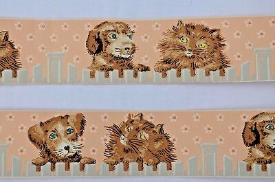 Vintage 1950 Wallpaper Border Rolls Children Baby Nursery Cats & Dogs Wall Paper