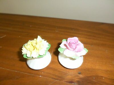 Two capodimonte place card holders or pot pouri holders Adderley