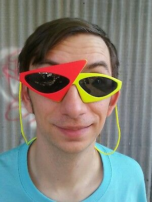Authentic 80s VTG assymetrical sunglasses neon red yellow New Wave futuristic