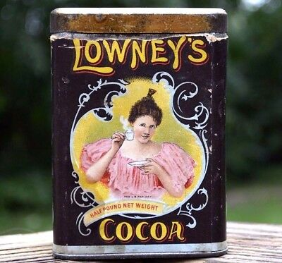 Antique Vintage Lowney's Cocoa Tin Can Old Paper Label  Advertising Can