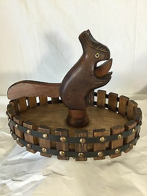 Vintage Antique American Folk art Nut Bowl Nut Cracker Handmade Squirrel Wood
