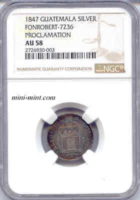 Guatemala 1847 Proclamation Silver Real NGC AU-58, Colorful Toning, Scarce Coin