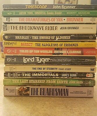 12 vintage Sci Fi Book lot 60s 70s & other. Brunner, Asimov, Binder & more
