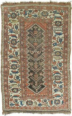 "Distressed antique Persian Kurdish rug. 3'10""x 6'2"""