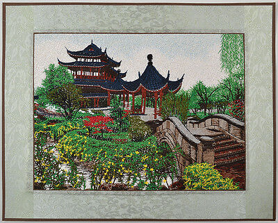 "18"" Brocaded Chinese Painting Su Zhou Silk Embroidery Piece! Drunk Pavilions="