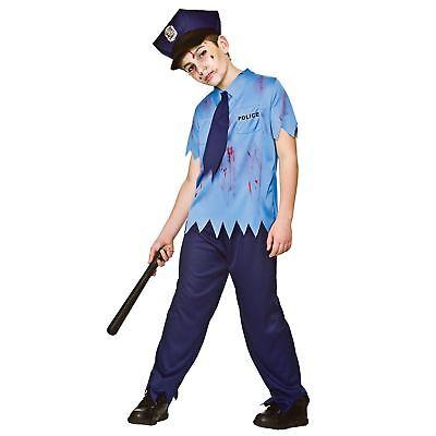 Boys Zombie Cop Police Living Dead Halloween Fancy Dress Party Kids Costume