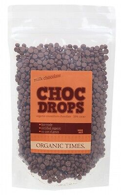 ORGANIC TIMES Choc Drops Milk Chocolate Couvertre Drops 500g