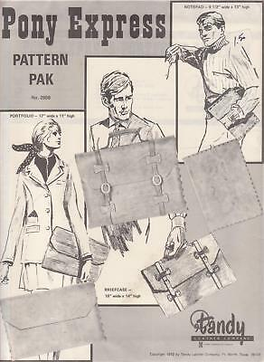 "1970s Briefcase and Notepad Pattern Leather making ""Pony Express"" Tandy #2658"