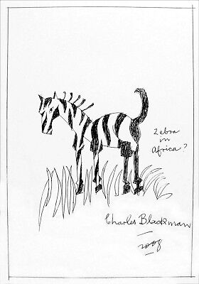 Charles Blackman Original Ink On Paper 2008 'Zebra In Africa?' 30 X 42cm FRAMED
