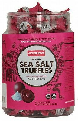 ALTER ECO Chocolate Organic Sea Salt Truffles Dark Chocolate Tub of 60 60x12g