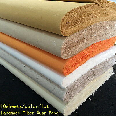 10pcs Chinese Rice Paper Long Fiber Xuan Paper Calligraphy Painting Handmade AS