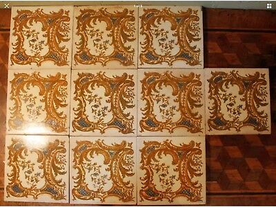Original 10 Antique Victorian Arts & Craft Print & Tint Tiles Fireplace Set Blue