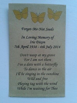 10 Personalised Forget Me Not Seed Favours - Funeral / Memorial Butterflies