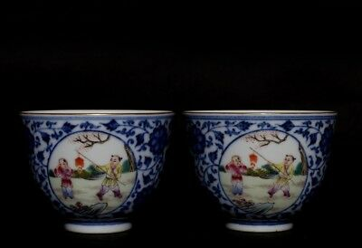 Pair Of Exquisite Chinese Children Porcelain Cups Marks QianLong FA583