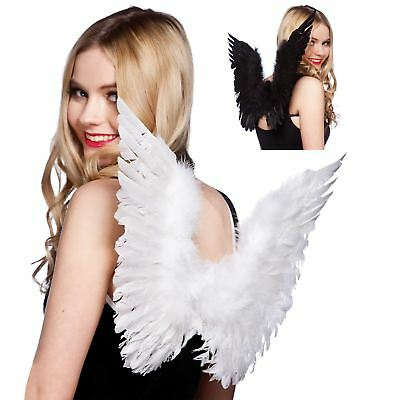 New Womans Feather Wings Angel Fairy Fancy Dress Halloween Black & White Colours