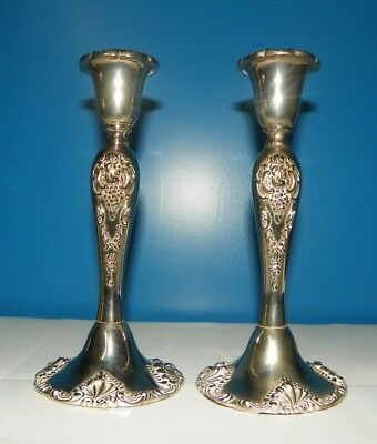 Godinger Silver Plate Vintage Candle Stick Holders Pair Leaves Leaf Entertaining