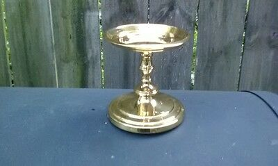 "VINTAGE Brass  pillar candle holder, 3 3/4"" high"