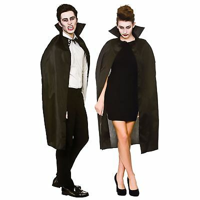 Adult Cape with Collar Black Halloween Fancy Dress Vampire Costume Wizard