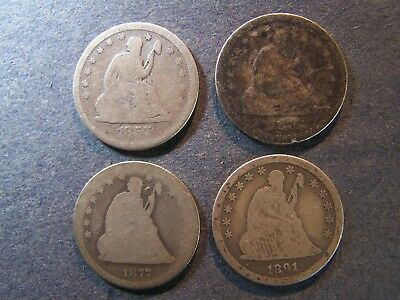 1857, 1876-S, 1877-CC, 1891 Seated Liberty Quarters 25c Free Shipping