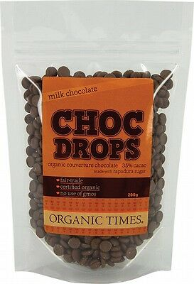 3 X ORGANIC TIMES Milk Chocolate Couvertre Drops 200g