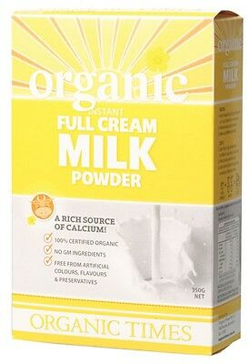 3 X ORGANIC TIMES Organic Full Cream Milk Powder 350g