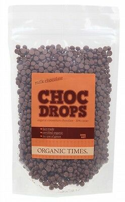 3 X ORGANIC TIMES Choc Drops Milk Chocolate Couvertre Drops 500g