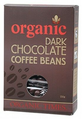 3 X ORGANIC TIMES Organic Dark Chocolate Coffee Beans 150g