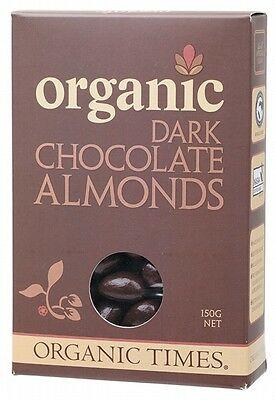 3 X ORGANIC TIMES Organic Dark Chocolate Almonds 150g